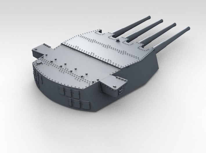 "1/600 HMS King George V 14"" Turrets 1941 3d printed 3d render showing product detail (A Turret)"