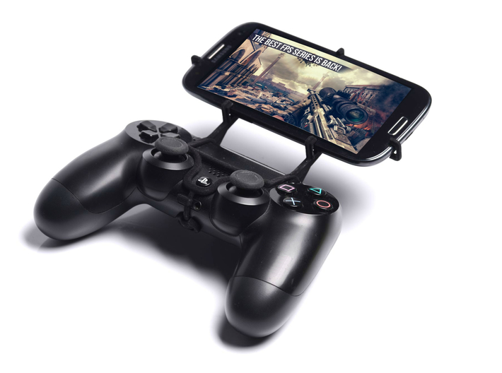 PS4 controller & Intex Aqua Power + 3d printed Front View - A Samsung Galaxy S3 and a black PS4 controller