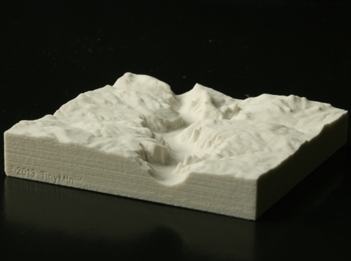 4'' Yosemite Valley, California, USA, Sandstone 3d printed Photo of actual print, looking East up Yosemite Valley