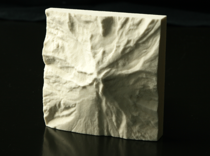 3'' Mt. Hood, Oregon, USA, Sandstone 3d printed Photo of actual model, North is up.