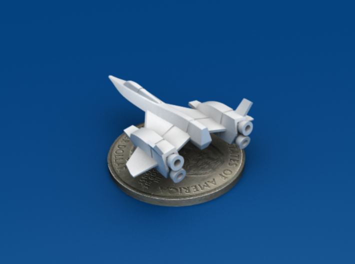 Space Fighter Type-A, 4-Pack 3d printed Aft 3/4 View