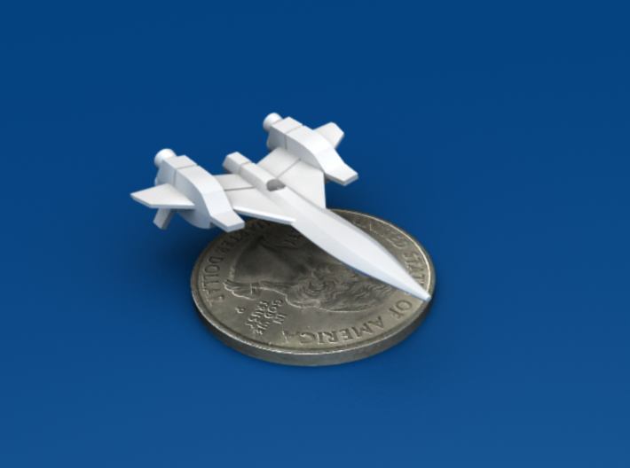 Space Fighter Type-A, 4-Pack 3d printed Forward Bottom 3/4 View