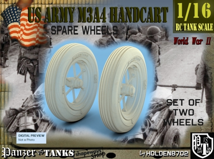 1-16 Wheels For M3A4 Handcart 3d printed