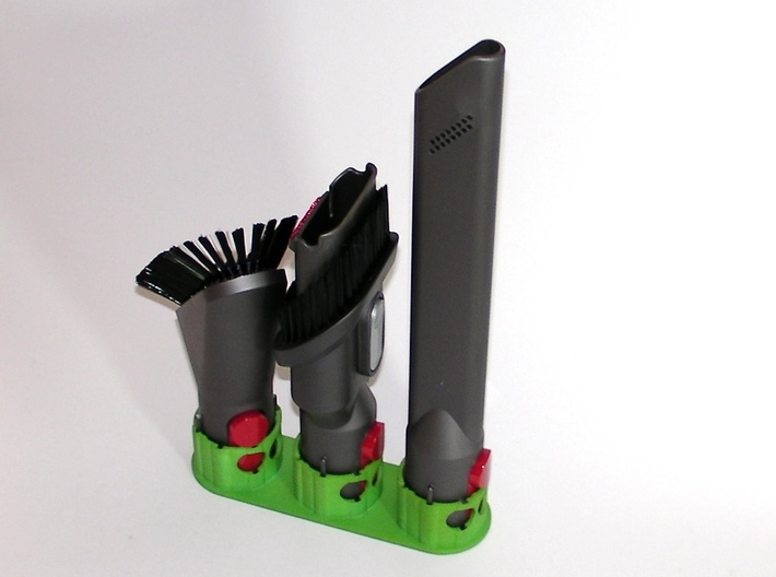 Holder - Dyson V8 x3 Tool - Wall Mount 3d printed Showing the brush angled to fit
