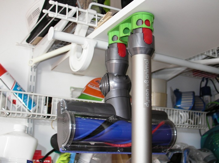 Holder - Dyson V8 x3 Tool - Wall Mount 3d printed Showing how it hangs ('cuse the mess)
