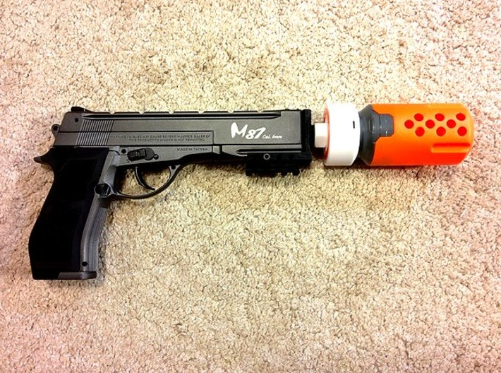 Nerf Muzzle to Airsoft Barrel Adapter (14mm-) 3d printed