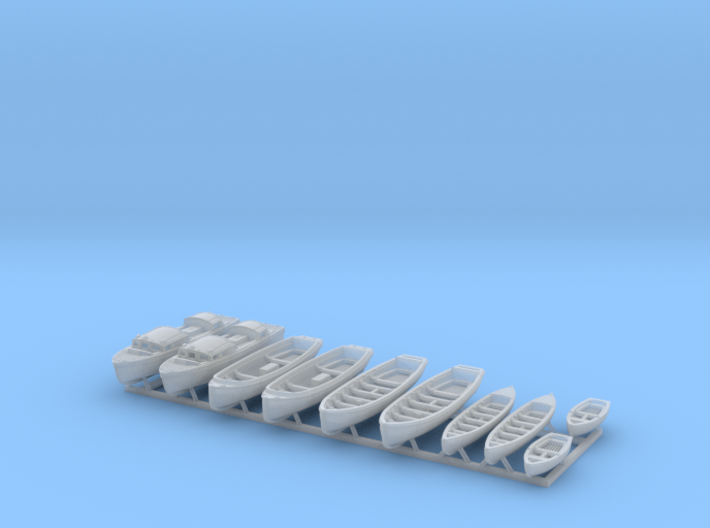 1/400 WW2 RN Boat Set 1 without Mounts 3d printed 1/400 Royal Navy WW2  Boat Set 1