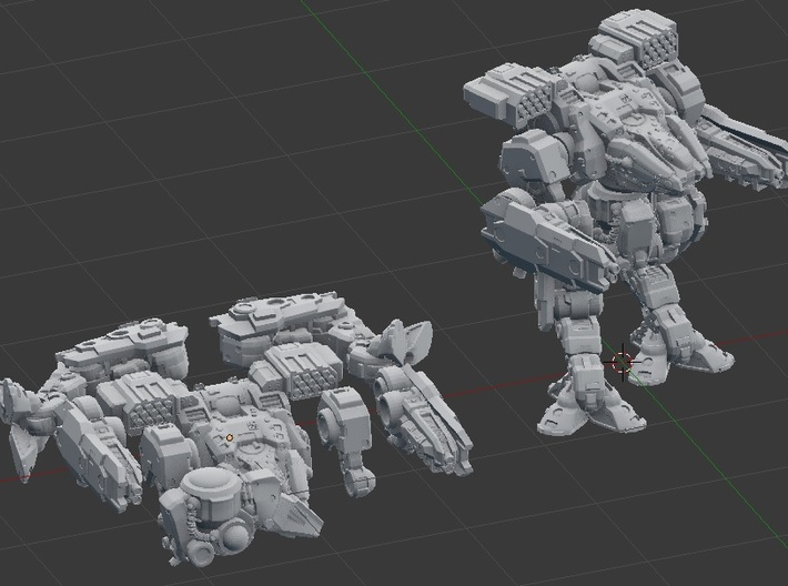 Sumaire War Walker (Multipart) 3d printed Parts shown as separate, and assembled.