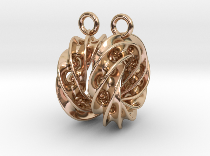 Twisted Scherk Linked 4,3 Torus Knots Earrings 3d printed