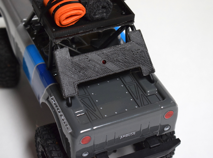 Spare Tire Rack/Mount for the Pro-Line Ambush 4x4  3d printed Prototype shown as printed in black PLA, medium quality.