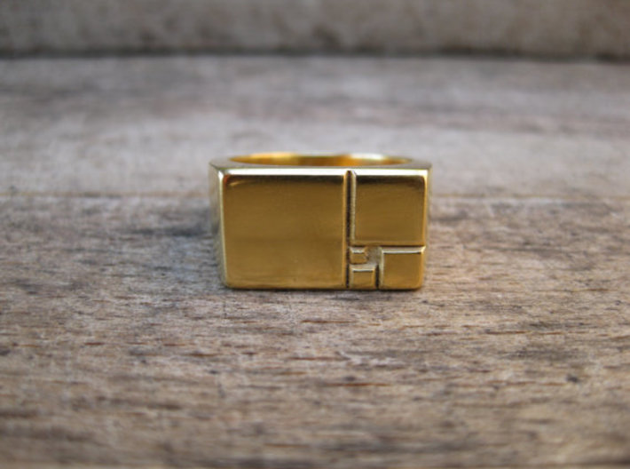 Golden Squares Ring 16.92mm ID US size 6.5 UK M1/2 3d printed My homemade 24k Gold plated, lost PLA prototype
