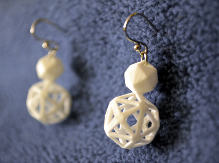 Polyhedron Snowman Earring 3d printed Polyhedron snowman earring pair with silver hooks.