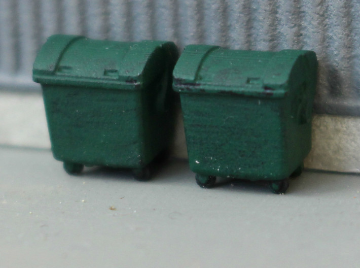 N Scale 4x Waste Container 3d printed 2 containers in Frosted Ultra Detail