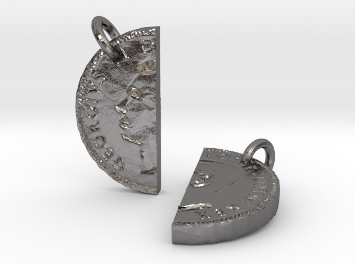 Two Half Sixpences Pendant or Keychain 3d printed