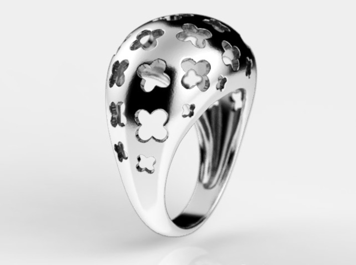 Floral bombe ring 3d printed Floral bombe ring render in sterling silver