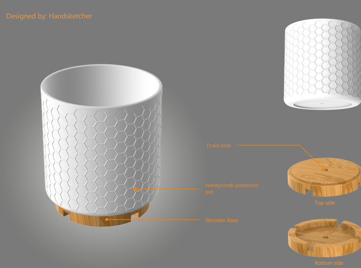 Flower Pot 3d printed Flower pot with a wooden base
