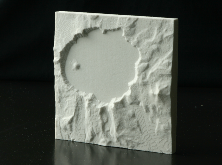 4'' Crater Lake, Oregon, USA, Sandstone 3d printed Photo of actual print, North is up