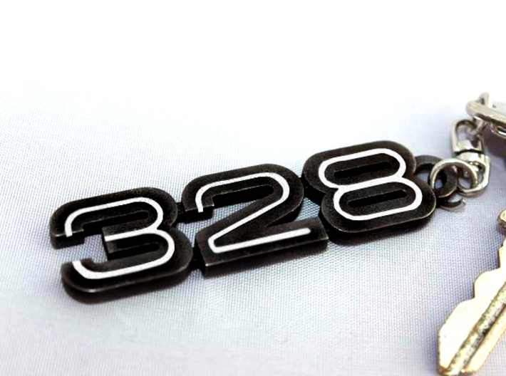 KEYCHAIN LOGO 328 IN BLACK 3d printed Keychain with the 328 logo in Matt Black Steel with white inserts