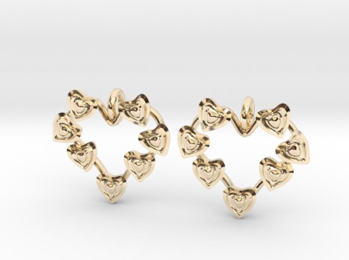 Valentine's hearties earrings 3d printed