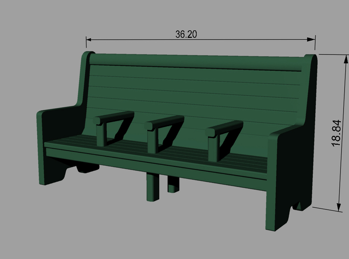 Bench type C - 1:72 scale 4 Pcs set 3d printed