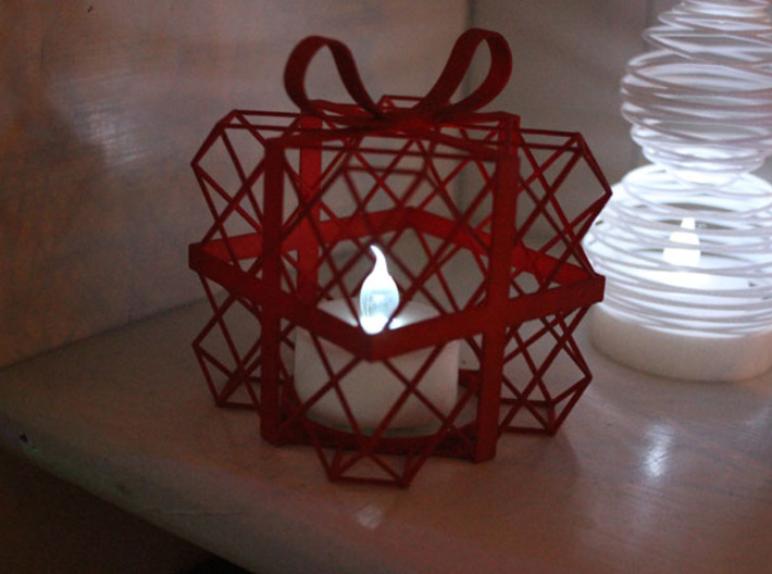 Tealight Cover - Present (2/3) 3d printed Printed in Coral Red