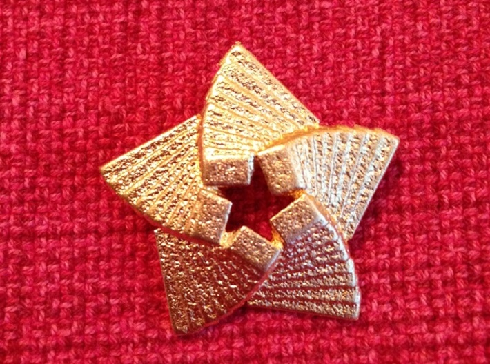 Five Point Star 3d printed Matte Gold Steel