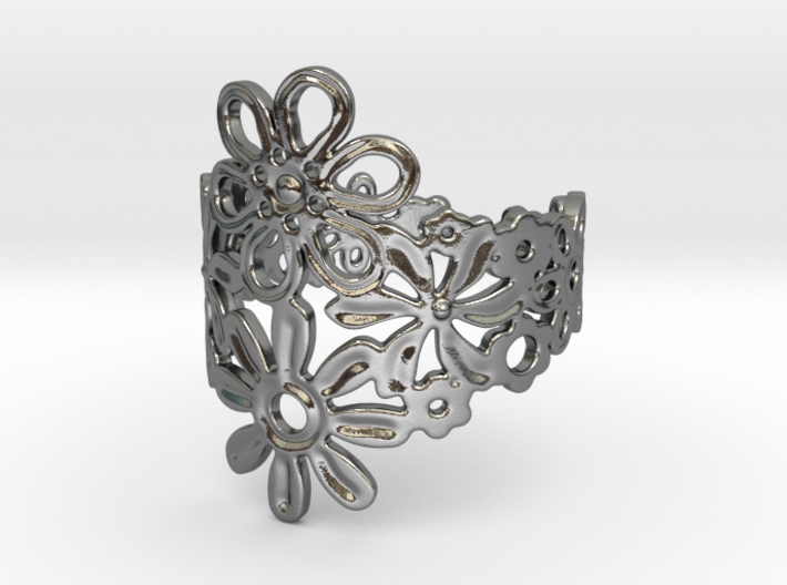 Mixed Flower Ring 3d printed