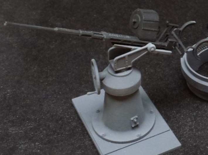 1:30 20mm Oerlikon Set (W/early Mk.4 Pedestal) 3d printed Example of assembled and painted kit in 1:24 scale.