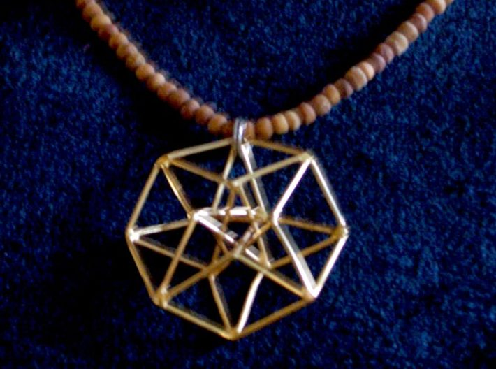 Toroidal Hypercube 35mm 1mm Time Traveller 3d printed Handmade Gold Plated Silver version from www.SacredPatterns.com
