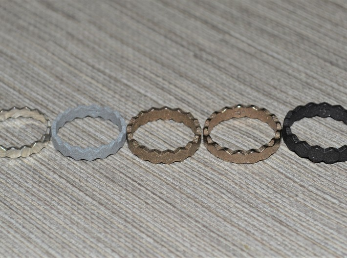 Hex Ringsaround Hexagon Geometric Ring Sizes 6-10 3d printed Sizes 6-10 from left to right