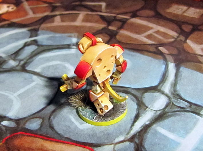 Cheese Golem - Mice & Mystics 3d printed Model hand-painted & based (back), after filing and sanding (game board with flagstones copyright Plaid Hat Games).