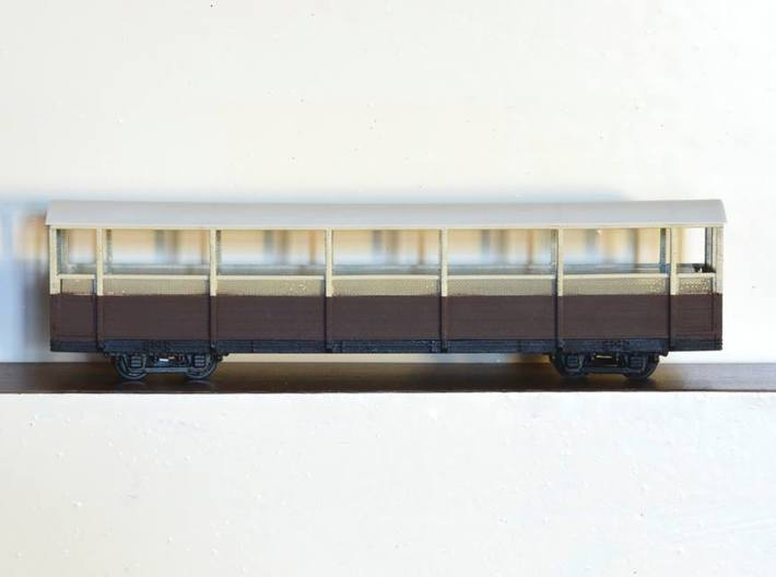 Vale of Rheidol Railway Open Coach (009) 3d printed Completed model with wire mesh, plasticard roof and bogies.