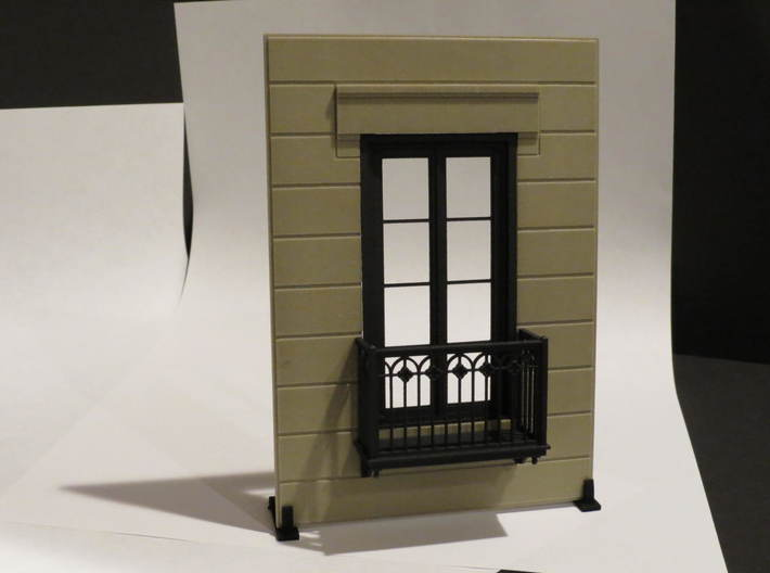 Juliet Balcony with Door 3d printed Juliet Balcony with door, shown assembled with the Architectural Wall.