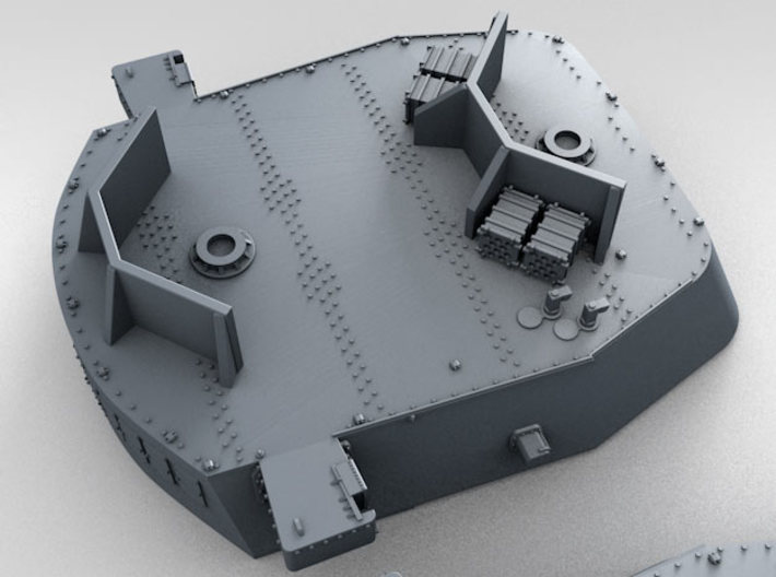 """1/700 16""""/45 MKI HMS Nelson Turrets 1940 3d printed 3D render showing UP Launcher Shields and Ammo Lockers"""