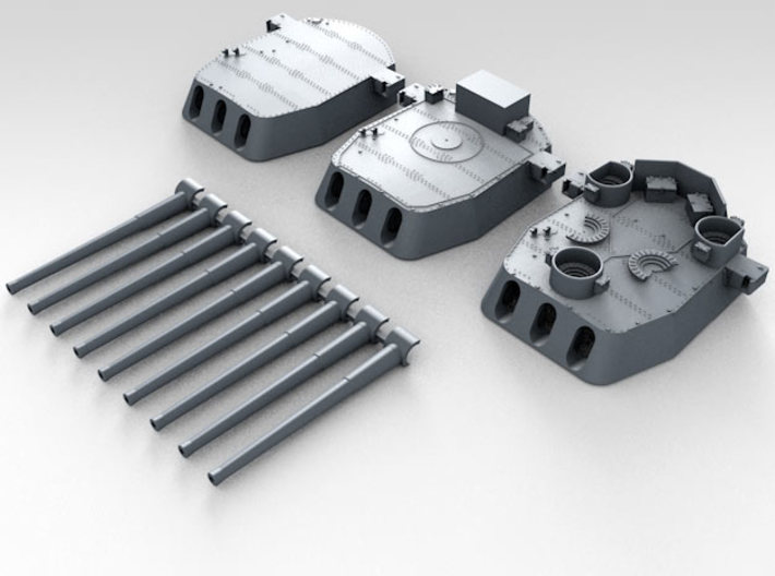 """1/600 16""""/45 MKI HMS Nelson Turrets 1943 3d printed 3d render showing set"""