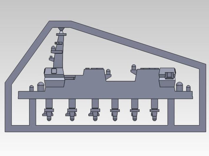 30SJ01b 1:3000 multipart 22DDH Izumo - Details 3d printed COMPLETE SPRUE WITH SUPERSTRUCTURE, 3 PHALANX & 3 SEA RAM
