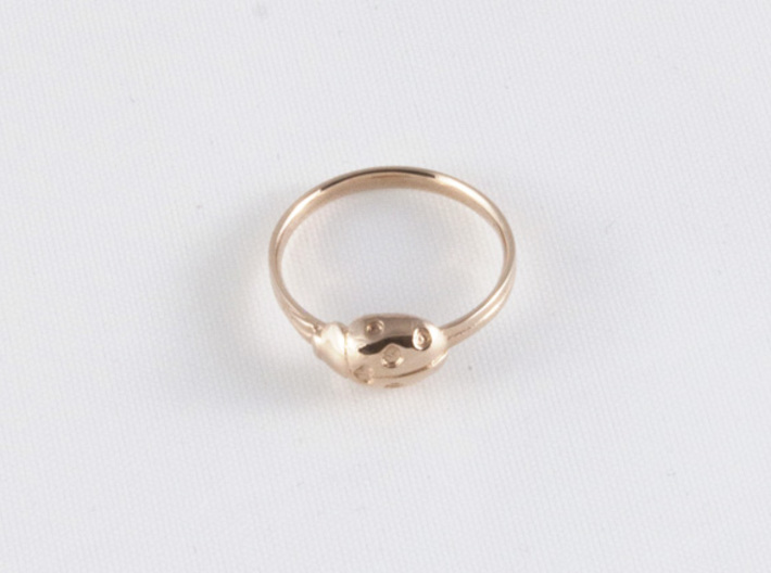 Ladybug Loved Midi Ring 3d printed 14k rose gold size 6