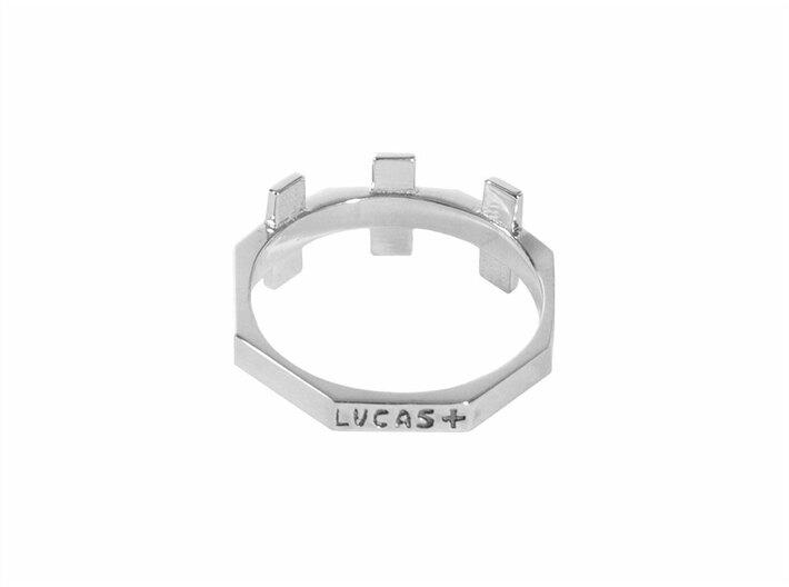 Triple Plus Ring 3d printed For post-production (.925 stamp + blackening) order on LucasPlus.com