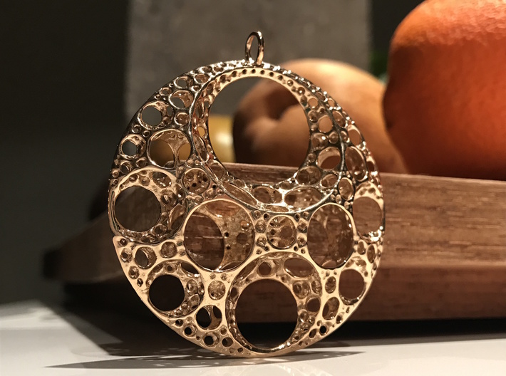 Klein Moon Pendant 3d printed Polished Bronze