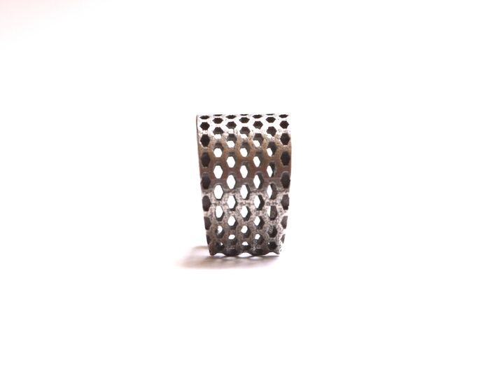 Elongated Honeycomb Ring 3d printed