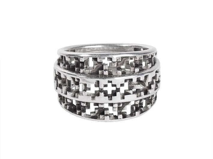 Tapered Pixel Ring 3d printed For blackened post-finish, order through LucasPlus.com