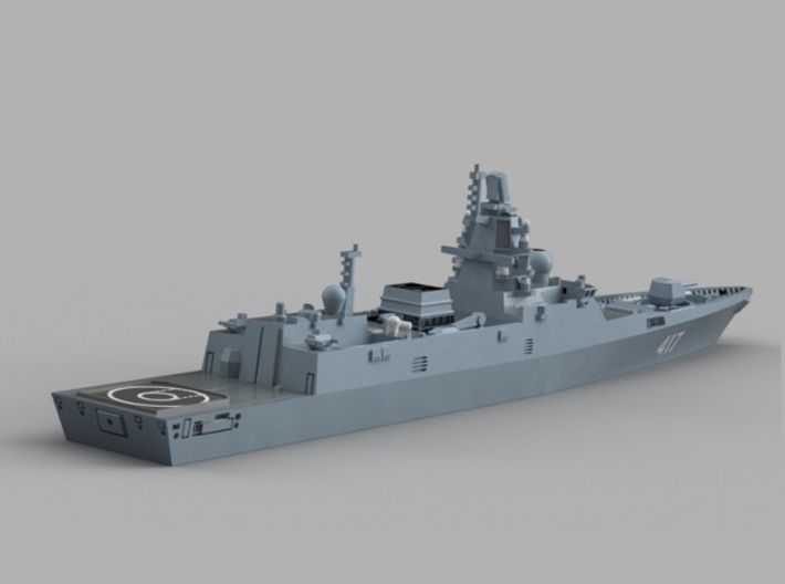 1/2000 RFS Admiral Gorshkov-class frigate 3d printed Computer software render.The actual model is not full color.