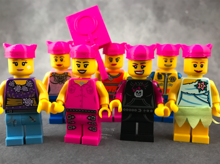 Minifig Pussyhat 3d printed Printed on home 3D printer