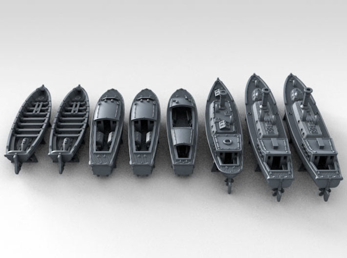 1/350 WW2 RN Boat Set 4 with Mounts 3d printed 3d render showing product detail