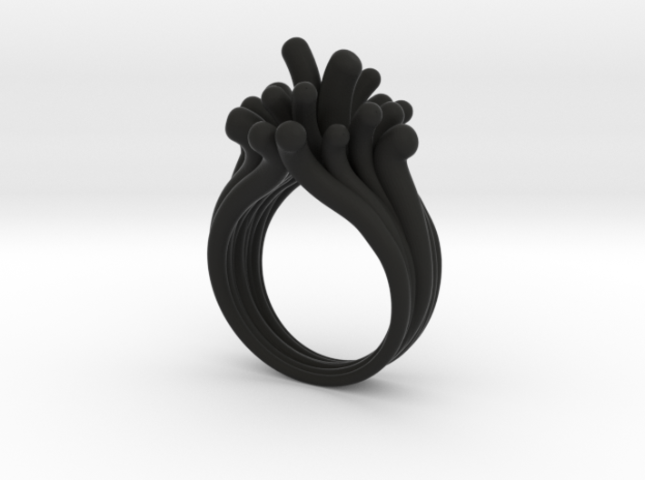 Water and Fire Ring  3d printed Water Drops Black Color Ring