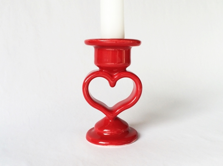 Heart Candle Holder, printed in Porcelain. 3d printed