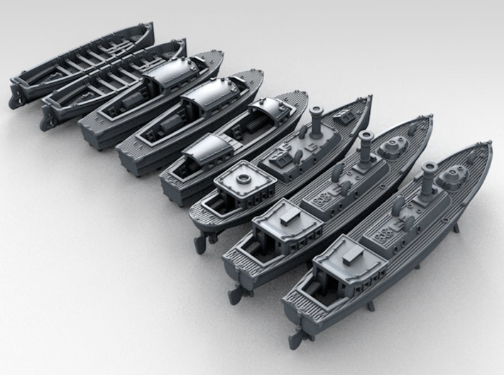 1/400 WW2 RN Boat Set 4 Without Mounts 3d printed 3d render showing product detail