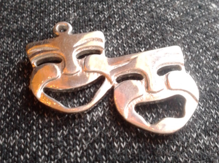 Comedy And Tragedy Pendant 3d printed Polished Silver
