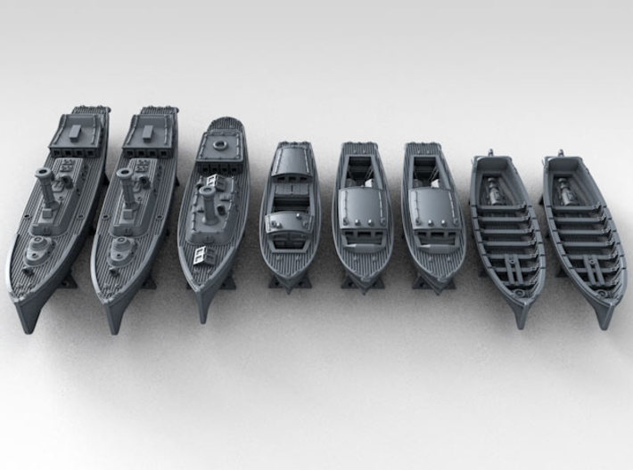 1/700 WW2 RN Boat Set 4 Without Mounts 3d printed
