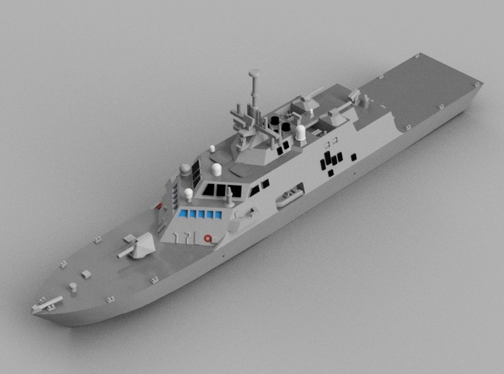 1/1800 USS Freedom 3d printed Computer software render.The actual model is not full color.
